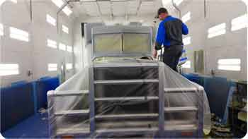 State-of-the-art paint booth for truck repairs