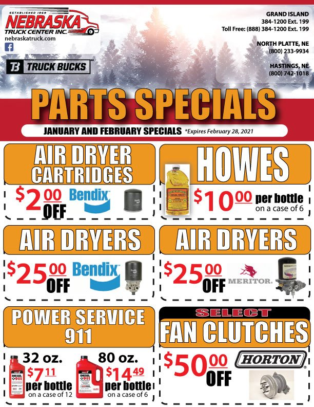 Parts Specials for January and February 2021